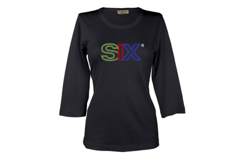 Ladies SIX Scoop Neck 3/4 length sleeve with bling for letter outline