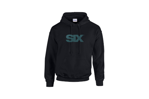 black pullover hoodie with teal SIX logo