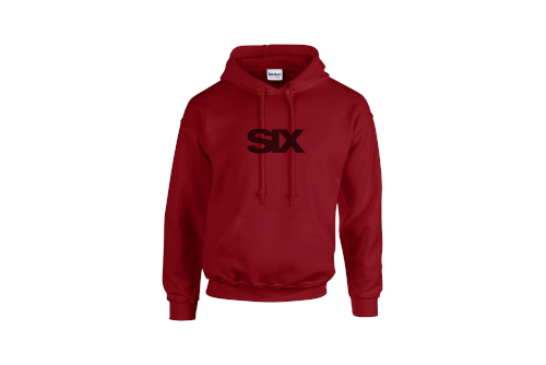 cardinal red pullover hoodie with black SIX logo